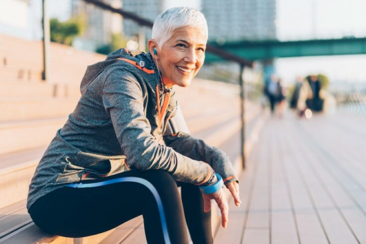 Senior woman outdoors in sportswear