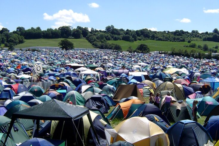 Festival tents in a field