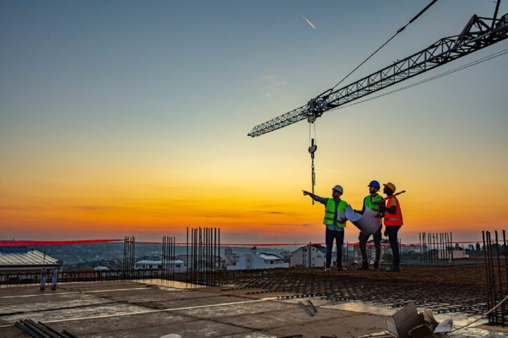 Builders at a construction site