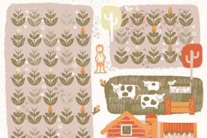 Farmer and maize crop - illustration