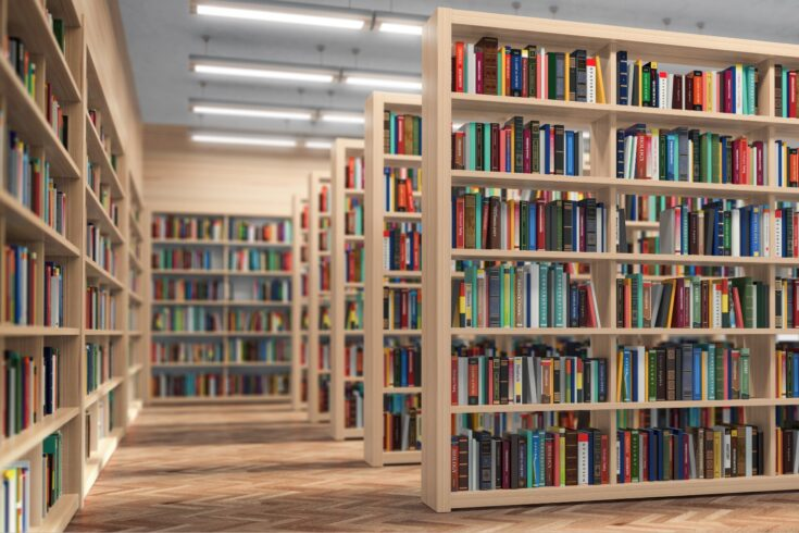 Library bookshelves with books and textbooks