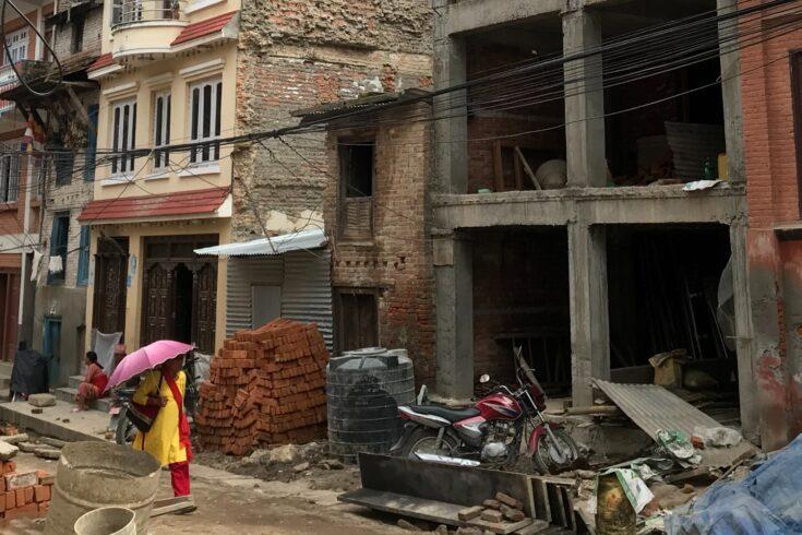 Damaged buildings after an earthquake in Kathmandu
