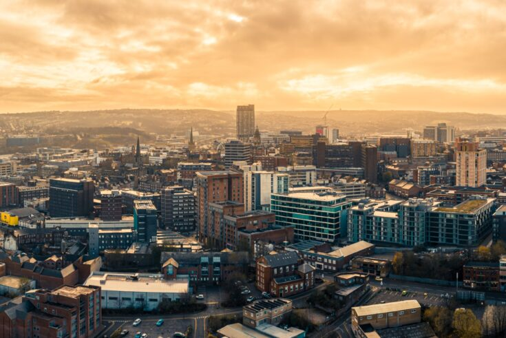 Aerial Panoramic view above Sheffield