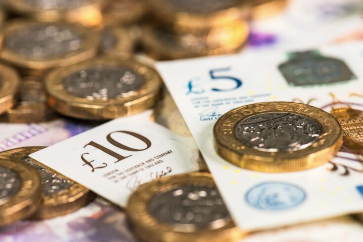 Close up of new UK currency