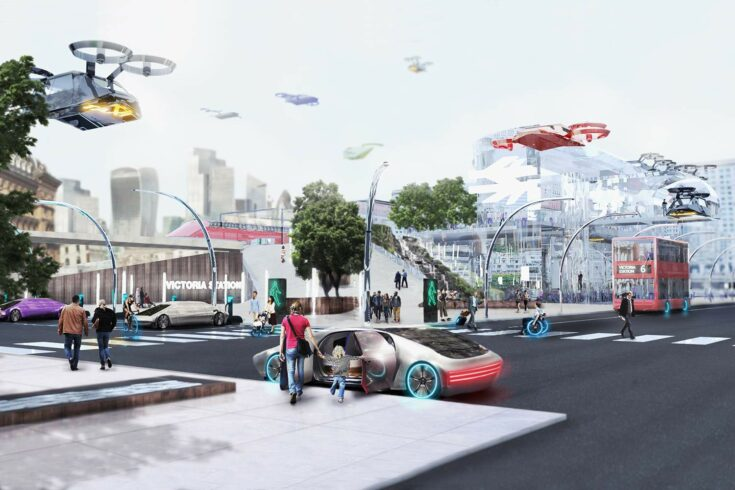 City scene with aerial vehicles