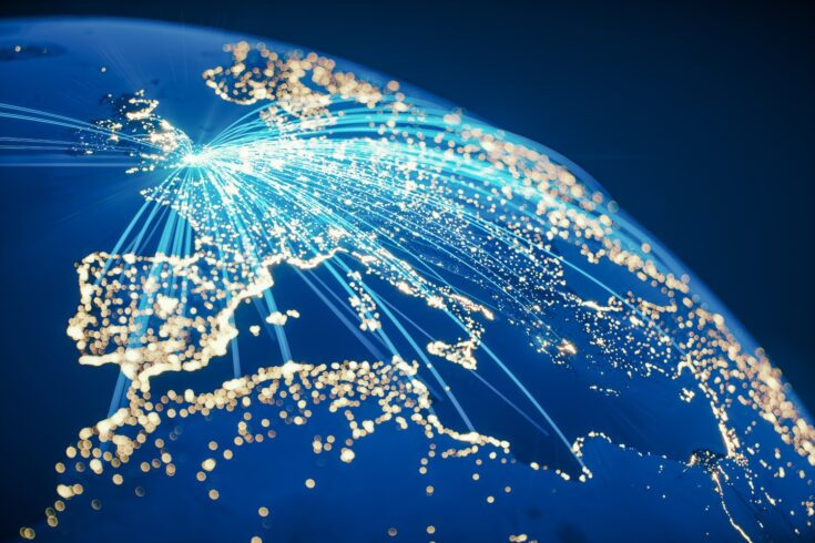 Global communication from the UK, lines connected from London to cities around the World
