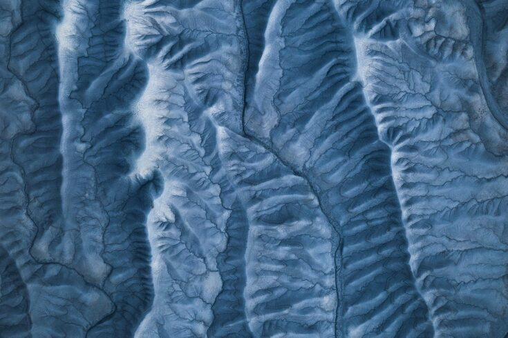 Cracked ice landscape, abstract