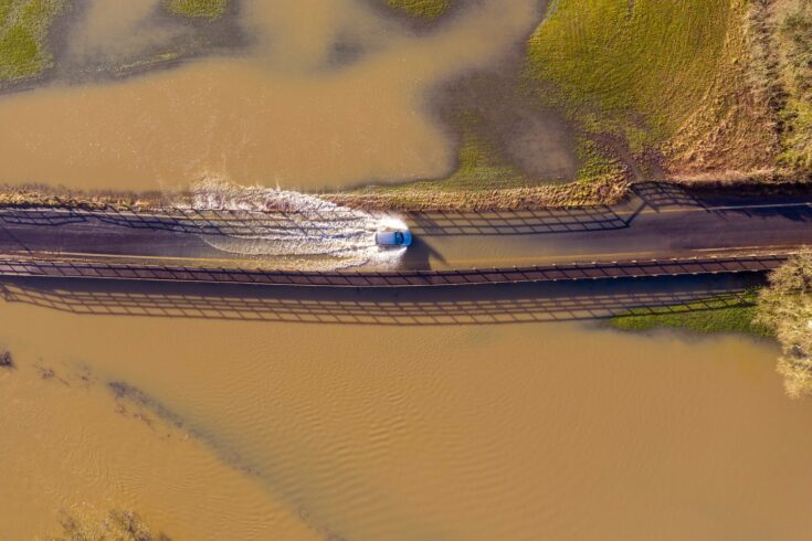 Aerial view of a flooded road in Somerset
