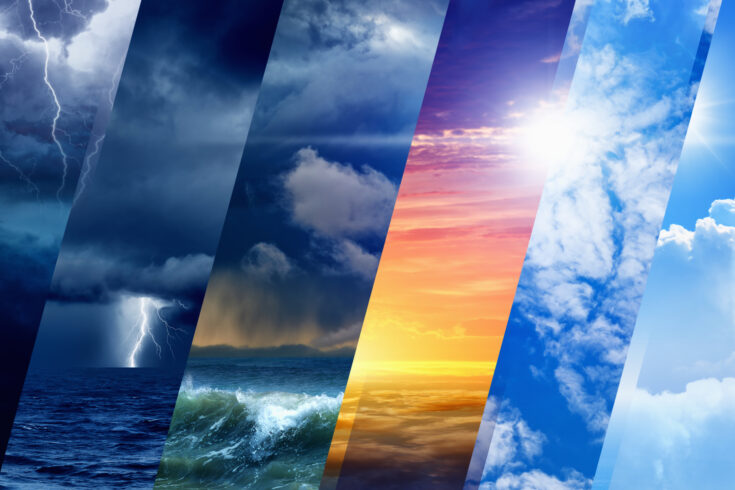 Variety weather conditions, bright sun and blue sky, dark stormy sky with lightnings