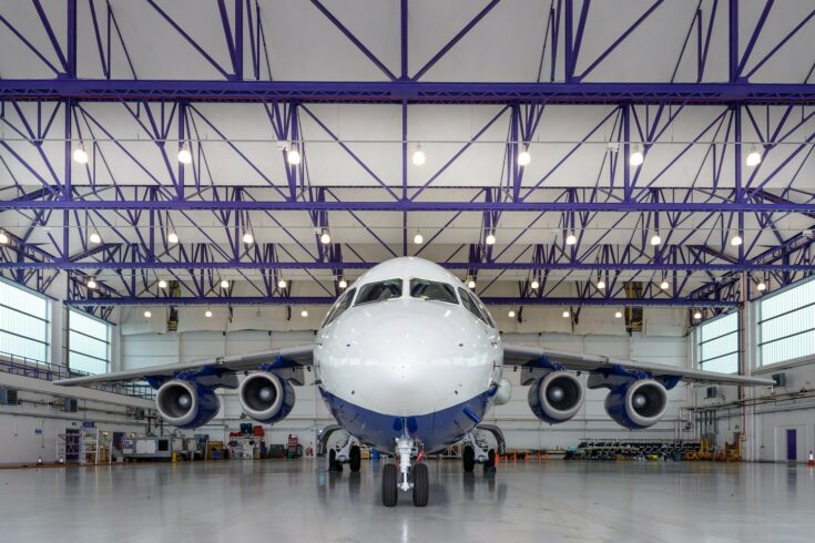 Jumbo jet in hangar