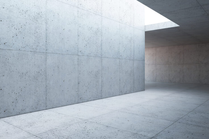 Blank concrete space interior