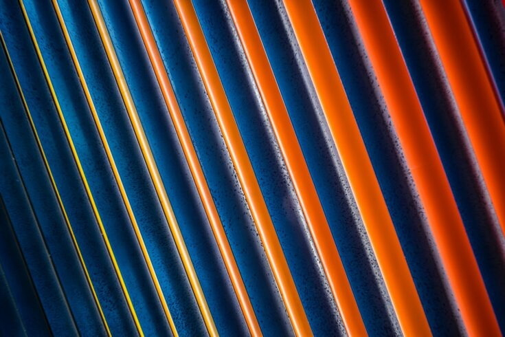 Abstract blue and orange panel