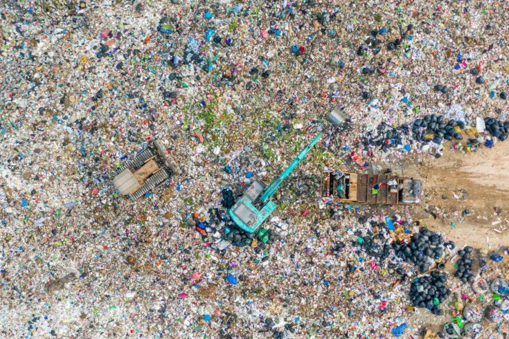 Waste pile in landfill