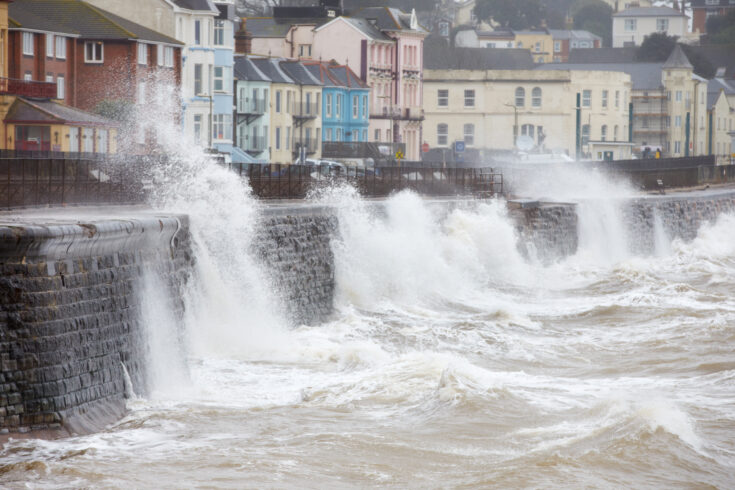Large waves breaking against the sea wall at Dawlish, Devon