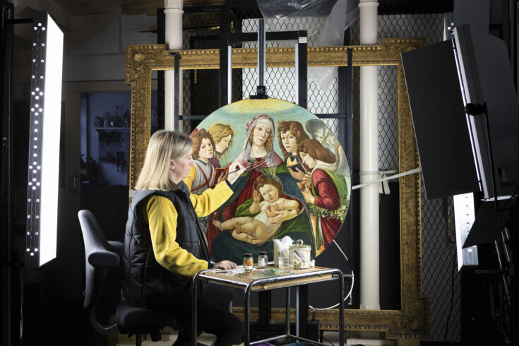 Botticelli's Madonna of the Pomegranate during conservation, Ranger's House, The Wernher Collection.