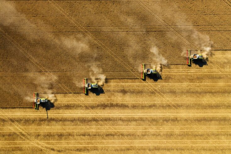 Harvesting in agriculture crop field