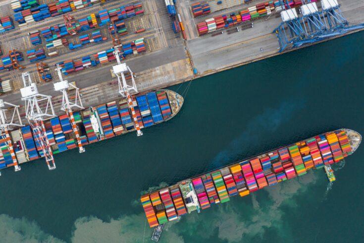 Aerial view of a cargo ship terminal