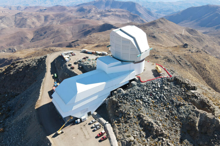 Drone photo of the Rubin Observatory summit facility