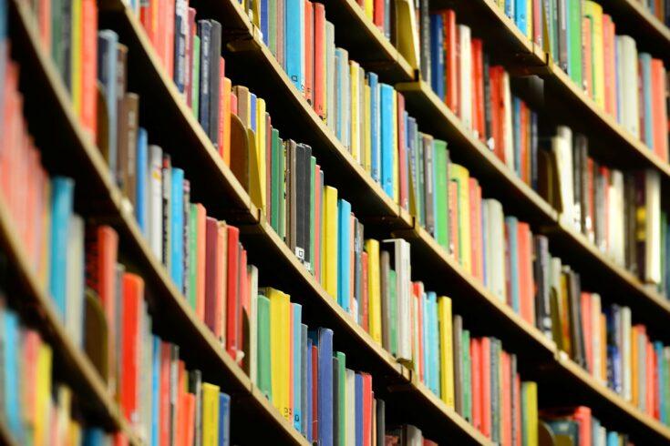 Bookshelf inside Stockholm Public Library