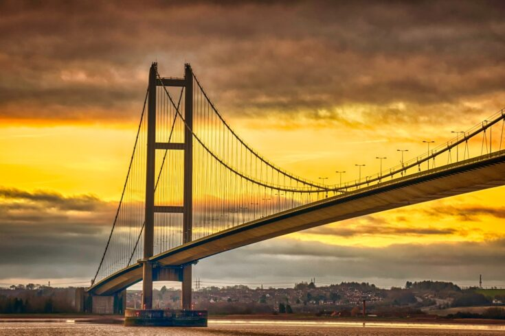 Humber Bridge with colorful sunrise
