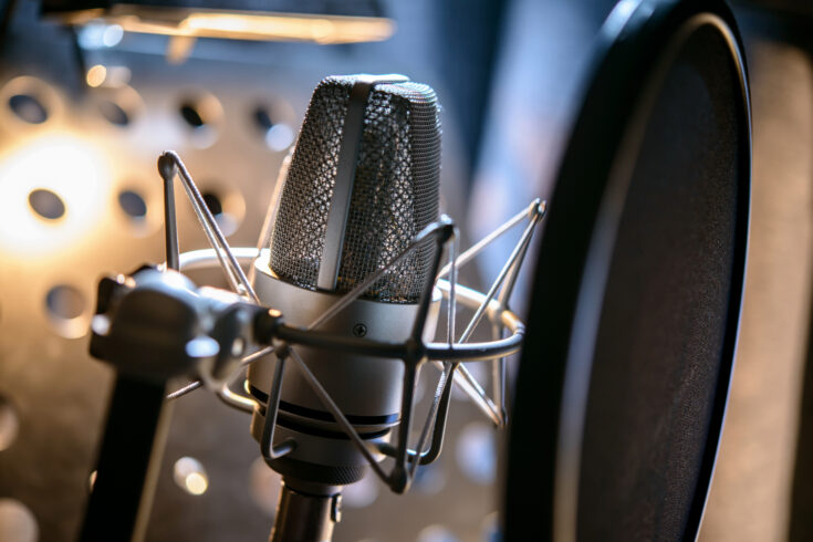 Modern professional microphone in recording studio
