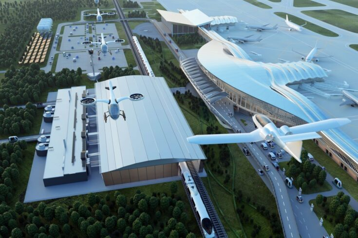 Airport of the future concept with flying drones