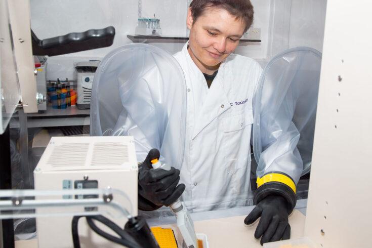 Dr Sonja Blasche in the laboratory.