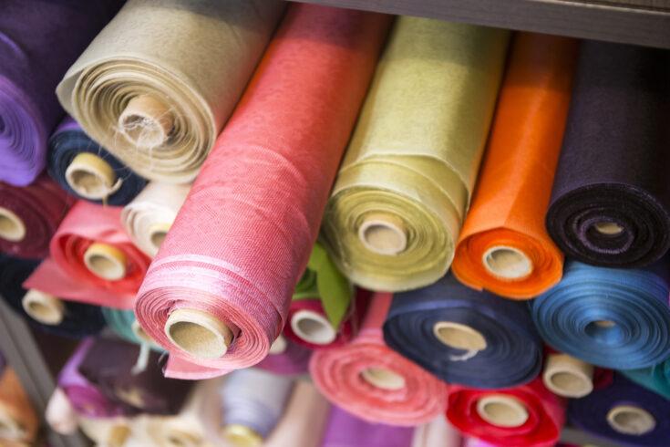 Fabric rolls at shop