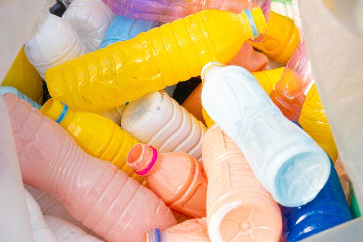 Plastic bottle waste Concept Reduce the use of plastic bottles reuse