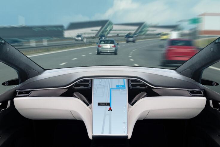 Autonomous car on a road
